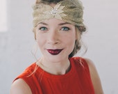 "Retro Faux Turban Holiday head piece with crystals. ""Gilded"" Color."