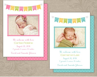 Prince and Princess Photo Baby Birth Announcement Card