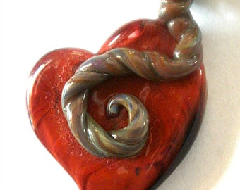 Placenta Love Birth Art Glass Necklace Pendant Midwife Doula Encapsulation Jewelry Charm