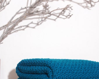 Ready to Ship  Beautiful and Luxuriously Handcrafted CROCHET Blanket Throw TEAL