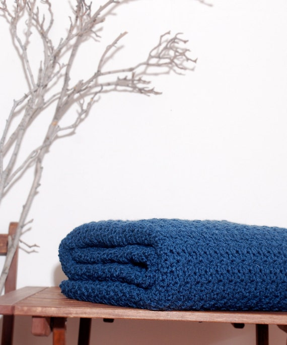 Ready to Ship  Beautiful and Luxuriously Handcrafted CROCHET Blanket Throw CAPE COD Blue