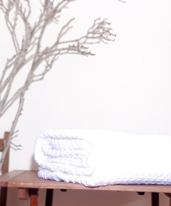 Made to Order  Beautiful and Luxuriously Handcrafted CROCHET  Blanket Throw WHITE
