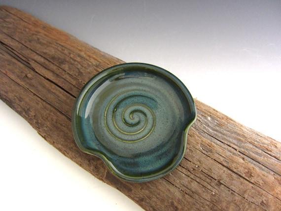 Spoon Rest in Rainforest Green - Kitchen Spoon Rest - by DirtKicker Pottery