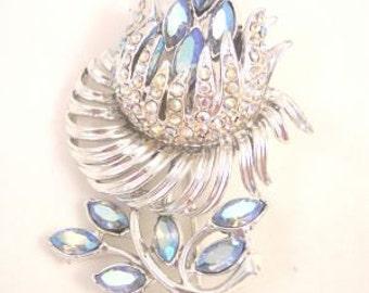 AB Rhinestone Blue Flower Pin Vintage
