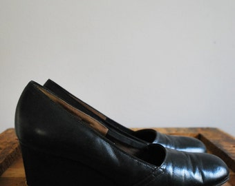 Black and Brass Classic Vintage Wedge Heels