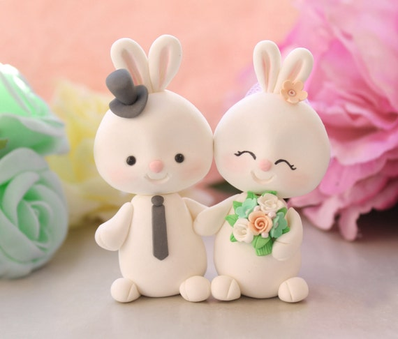 bunny wedding cake topper items similar to custom bunny wedding cake toppers 12223