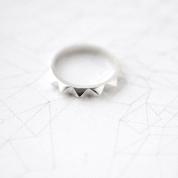 Solid silver Minicyn studded ring
