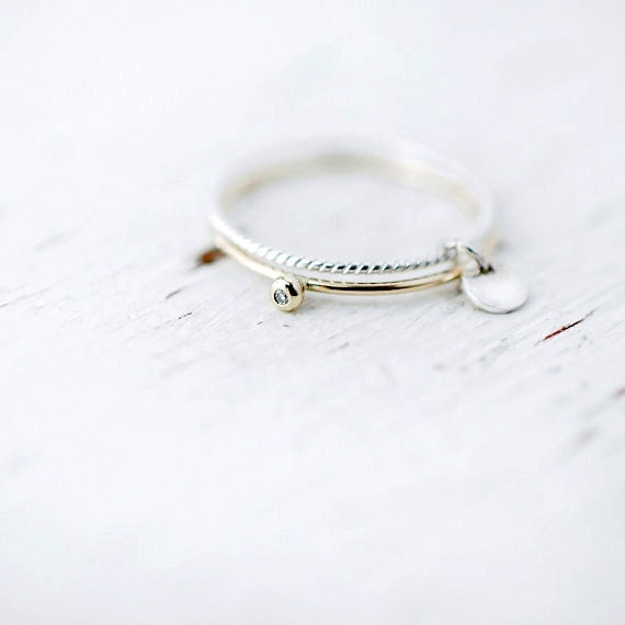 Mini Diamond Toi et moi 14karat twisted yellow or rose gold and silver stacking rings