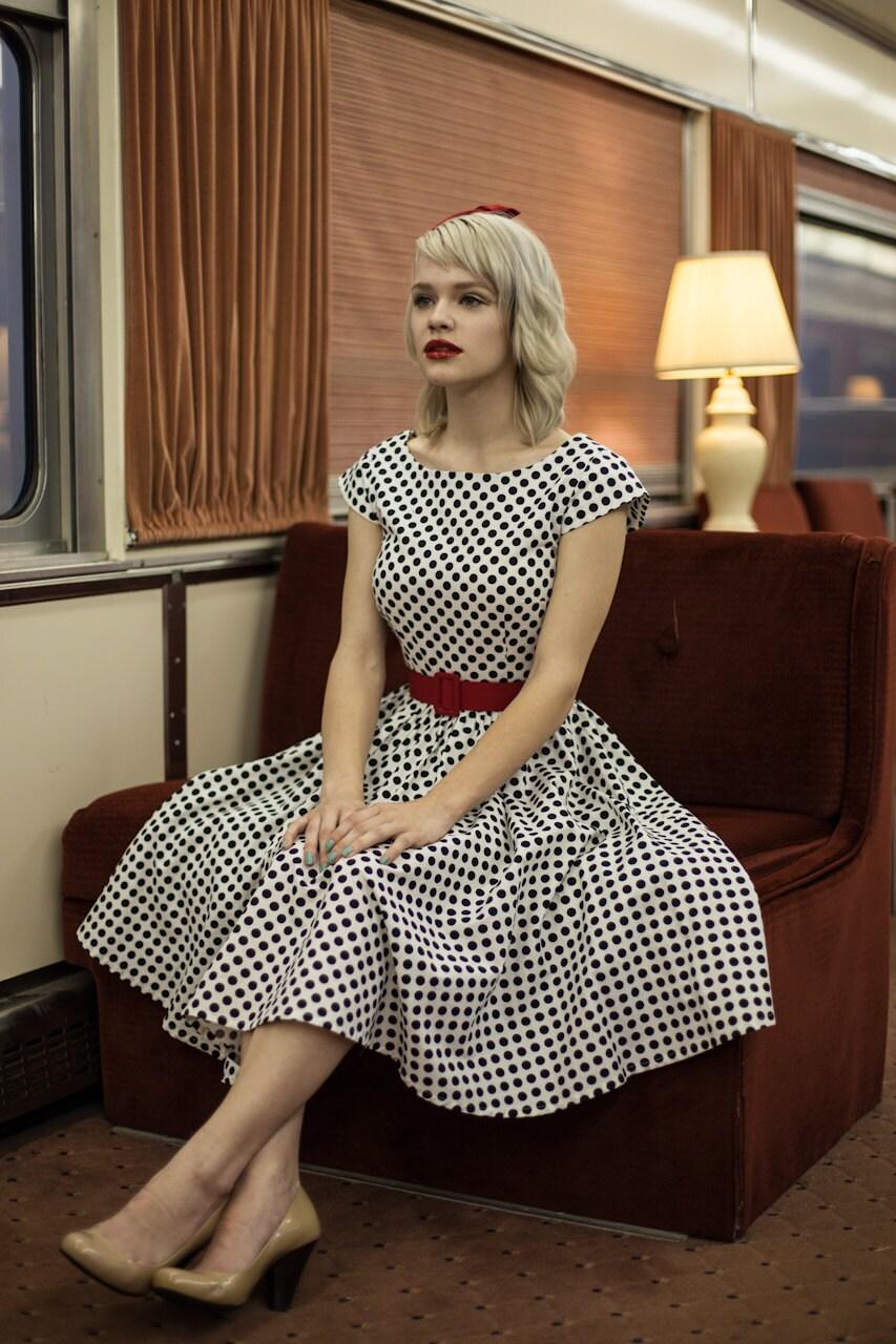 retro dress custom made clothing black and white polka