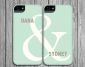 Couples Phone Case Set - Mint Green & Linen Gray, Ampersand - Modern Valentine's Day - Couples iPhone Cases / Galaxy Cases