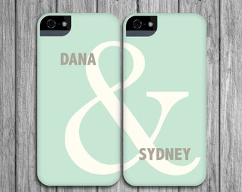 Couples Phone Case Set - Mint Green & Linen Gray, Ampersand - Modern Valentine's Day - Couples iPhone Cases / Galaxy Cases Galentine's Day