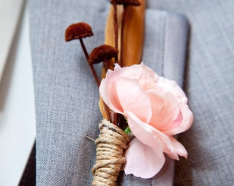 Blush Pink and Coco Feather Boutonniere