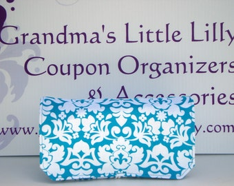 40% Off Coupon Organizer Cash Budget Organizer Holder- Attaches to your Shopping Cart -Turquoise and White Damask