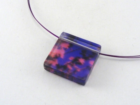 Pink Purple Summer Blossom,  Acrylic Pendant Necklace, Ideal Birthday Gift Special Offer