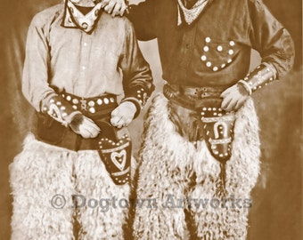 Two Cowpokes Boxer Dogs, large original photograph of two Boxer dogs dressed as cowboys