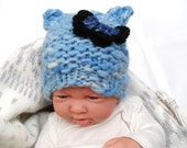 Knitted Newborn Baby Hat with Cat Ears - Soft blue merino wool winter hat