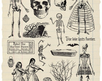 Danse Macabre - Skeleton Ball rubber stamp collection