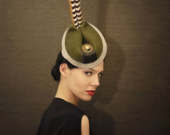 Green and Grey Felt Racing Hat with Peasant Feather - Made to Order