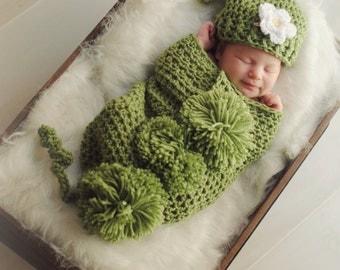 Crochet Pea Pod Cocoon for Newborn Baby Photo Prop