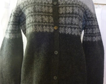 Vintage 90s EVAN PICONE Gray Wool Cardigan, Fair Isle Pattern