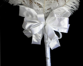 Feather Glam 2 Decorative Wedding Broom with White Feathers and Jewel Embellishments