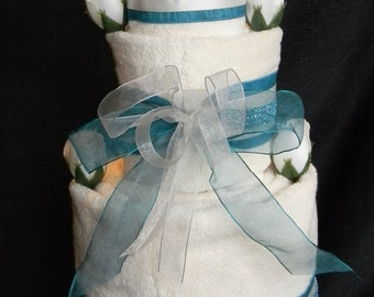 3 Tier Vanilla Towel Cake with Turquoise/ Teal Accents. Bridal Shower Towel Cake, Housewarming Gift, Wedding Gift, Bath Towels