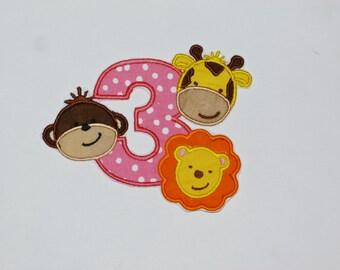 "Birthday Embroidered Iron On Applique  ""Zoo Animals"""