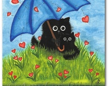 Black Cats - Showered with Love - Art Print by Bihrle ck366