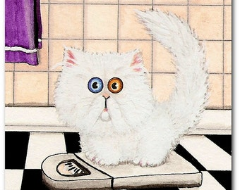 Must be Getting Fluffier - Persian Cat Diet Humor - Prints by Bihrle CK38