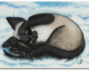 Siamese Cat Nap Art - Prints by Bihrle ck413