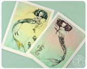 Mermaid Cards - Fantasy Art - Fairy Tale - Yellow Pink Turquoise - Jellyfish - Seahorse - Art Cards - blank cards - Fairy Tale Art