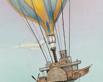 Hot Air Balloon Wall Art PRINT - Steampunk Art - 7x7 giclée Fantasy Art Print  - Pink  - Grey - Fairy Tale Art by the Filigree