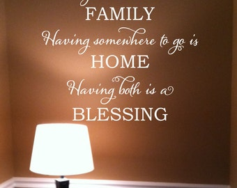 FAMILY plus HOME equals BLESSING Vinyl Wall Decal (I-030)