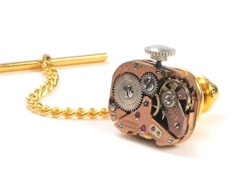 Steampunk Vintage Rose Gold Watch Movement Tie Tack Pin Chain Clip