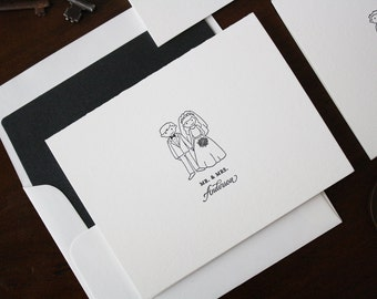 Bride & Groom Letterpress Notecards - Illustrated Family Notecards - Set of 25