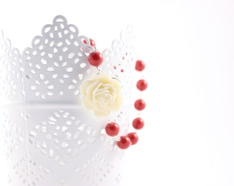 Bridal Jewelry Ivory Rose and Coral Red Pearl Bridesmaid Necklace