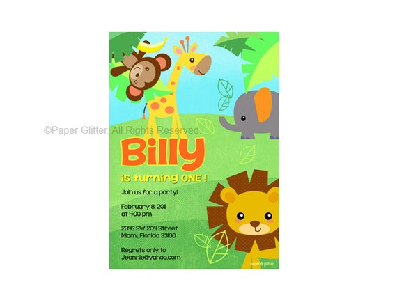 Safari Jungle Animal Zoo Party Invitation for birthday or baby shower, Invite or Thank You Card Printable PDF or JPG