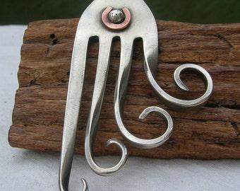 Fork Pendant - Upcycled jewelry- Artisan metalwork