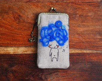 iPhone Case iPhone sleeve gadget case - Blue hair and buttons Embroidery girl  ( iPhone 7, iPhone 7 Plus, Samsung Galaxy S7 etc. )