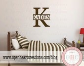 Boys Name Wall Decal with Initial Monogram Background - Baby Nursery Boys Bedroom or Playroom Personalized Wall Decal 22H x 22W FN0558