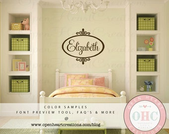 "Shabby Chic Name Wall Decal - Monogram Vinyl - Personalized Wall Decal - Baby Girl Nursery Decor 22""H x 28""W FN0188"