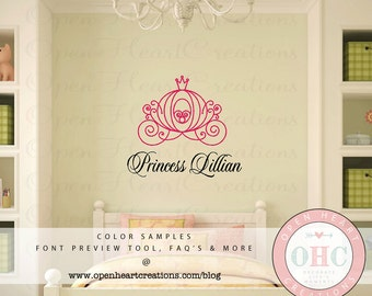 Princess Girls Name Wall Decal with Carriage - Baby Girl Teen Monogram Vinyl Decal with Horse Carriage FN0548