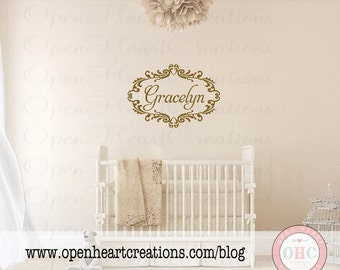Name Wall Decals - Shabby Chic Vinyl Wall Decal with Name and Heart Frame Baby Nursery 22H X 32W Fn0002