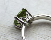 Peridot Gemstone Ring in Sterling Silver, custom size with art deco setting and simple band