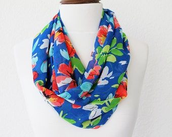 Boho Floral Print Infinity Scarf - Loop Scarf - Circle Scarf - Cowl Scarf - Soft and Lightweight