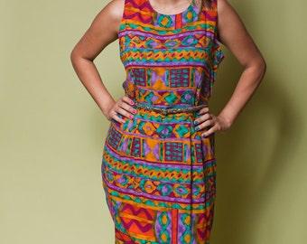 Vintage Multicolored GEOMETRIC Dress With Criss Cross Back / 80s Positive Attitude / Womens Medium Large