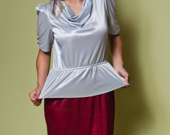 Vintage 70s Metallic Gray And Burgundy PEPLUM DRESS / Two Tone Dress / Womens Medium Large