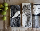 Tea Towel Bundle, 3 Forest Animal Tea Towels, Printed with Eco Friendly Inks - Gingiber