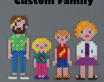 Custom Made Perler Bead Family Magnet set to look like your family members - provide pictures and I'll bead your family