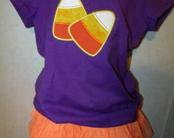 Halloween Trick or Treat Party Candy Corn Purple Shirt 6X READY TO SHIP